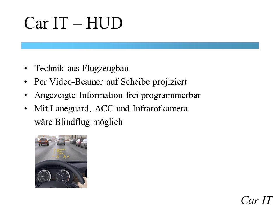 Car IT – HUD Technik aus Flugzeugbau