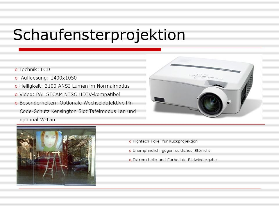 Schaufensterprojektion