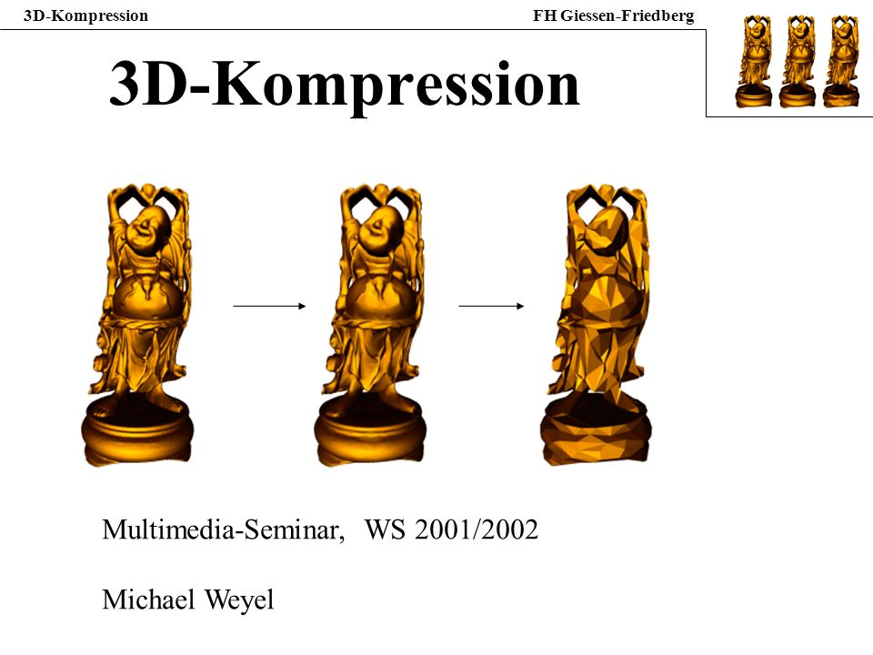 3D-Kompression Multimedia-Seminar, WS 2001/2002 Michael Weyel