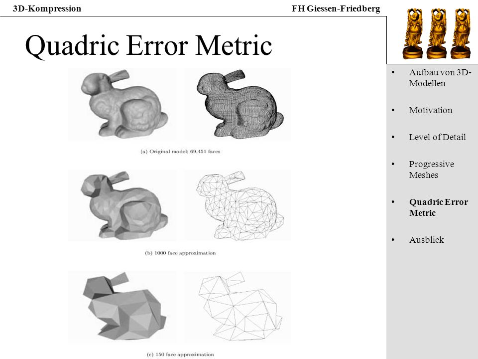 Quadric Error Metric Aufbau von 3D-Modellen Motivation Level of Detail