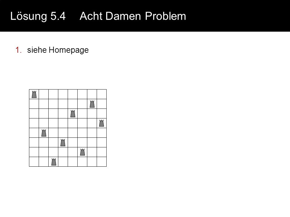 Lösung 5.4 Acht Damen Problem