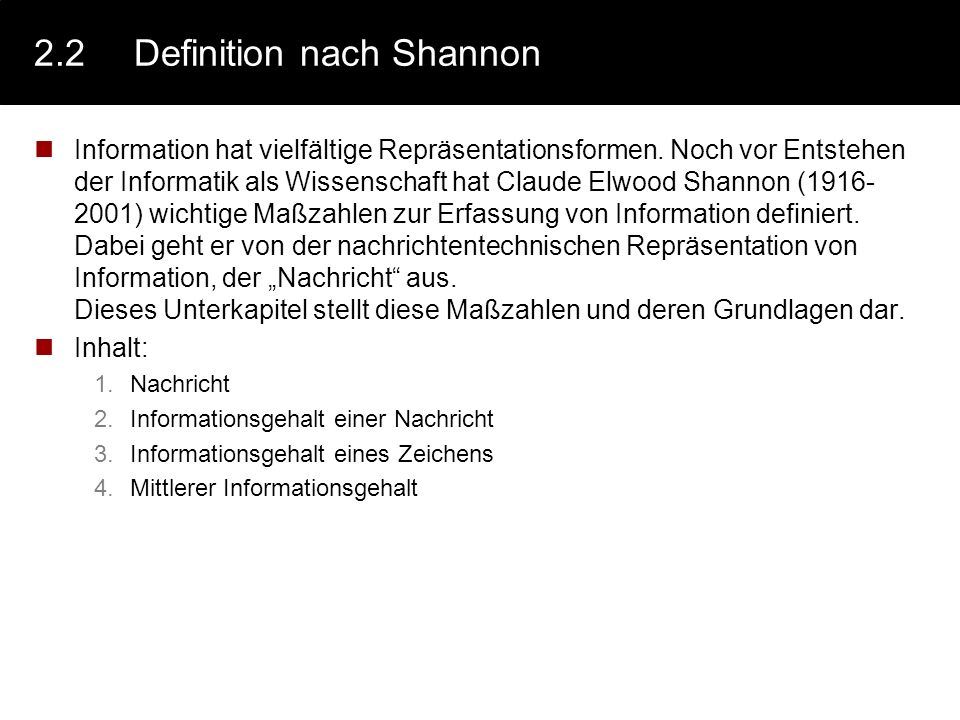 2.2 Definition nach Shannon