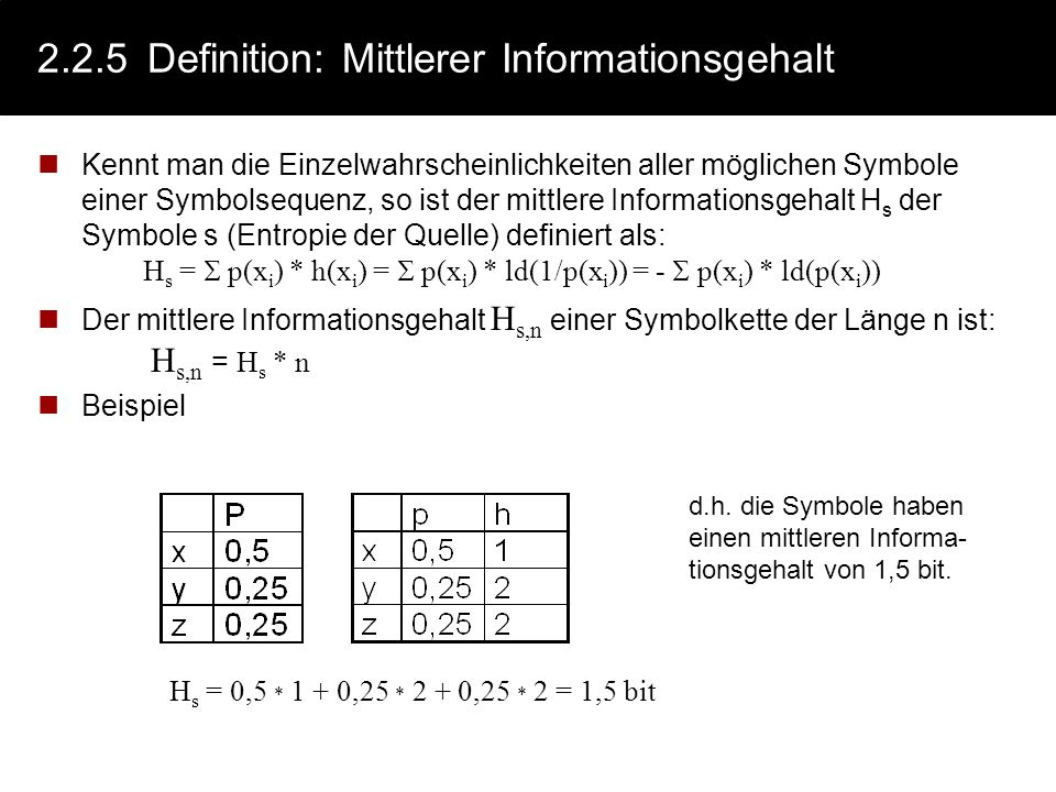 2.2.5 Definition: Mittlerer Informationsgehalt