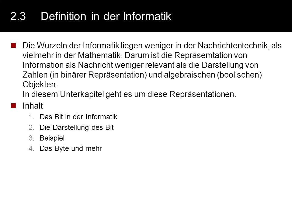 2.3 Definition in der Informatik