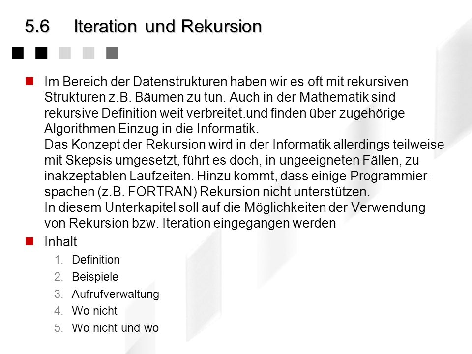 5.6 Iteration und Rekursion