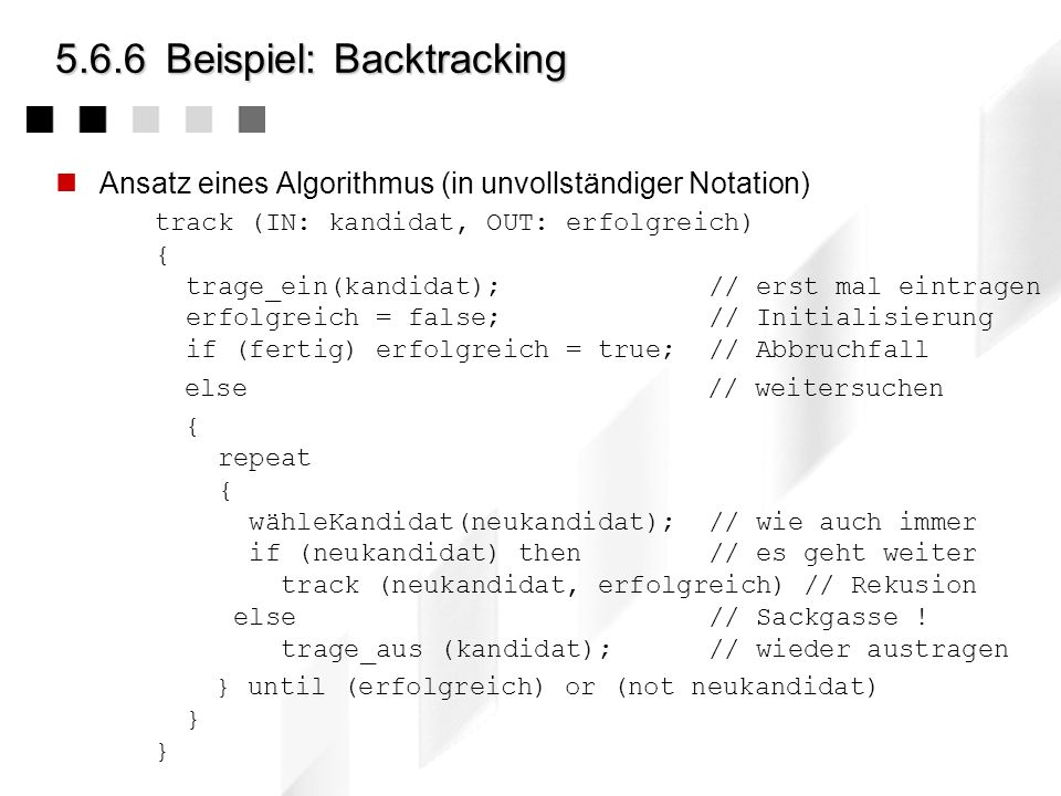 5.6.6 Beispiel: Backtracking