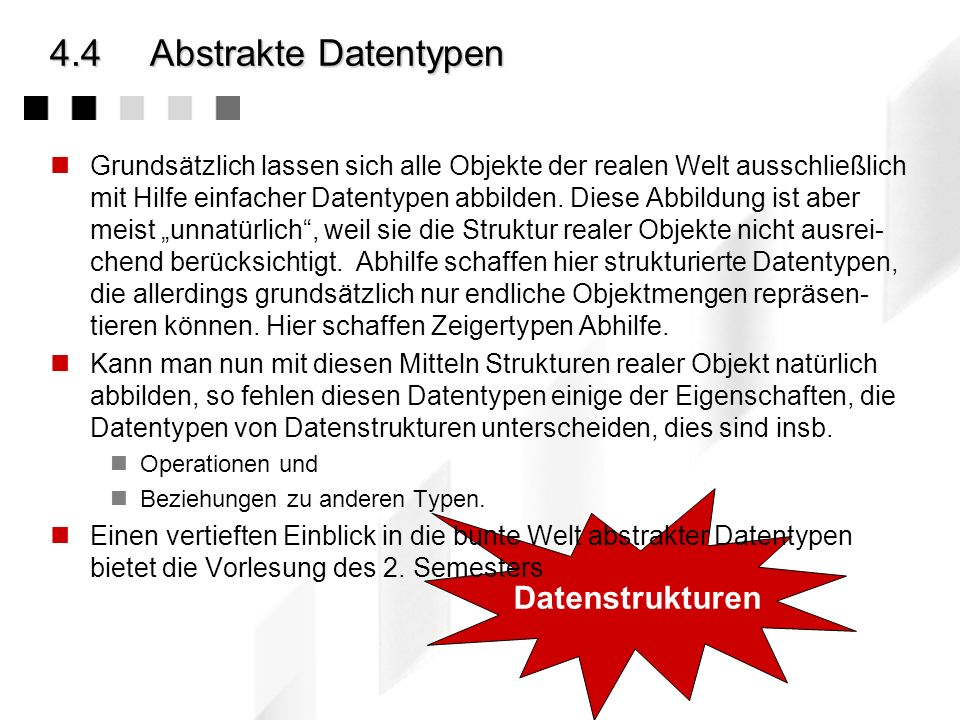 4.4 Abstrakte Datentypen Datenstrukturen
