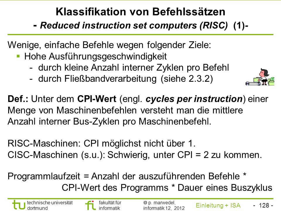 Klassifikation von Befehlssätzen - Reduced instruction set computers (RISC) (1)-