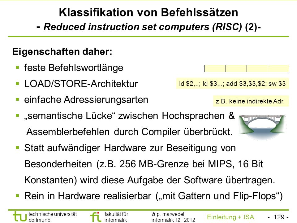 Klassifikation von Befehlssätzen - Reduced instruction set computers (RISC) (2)-
