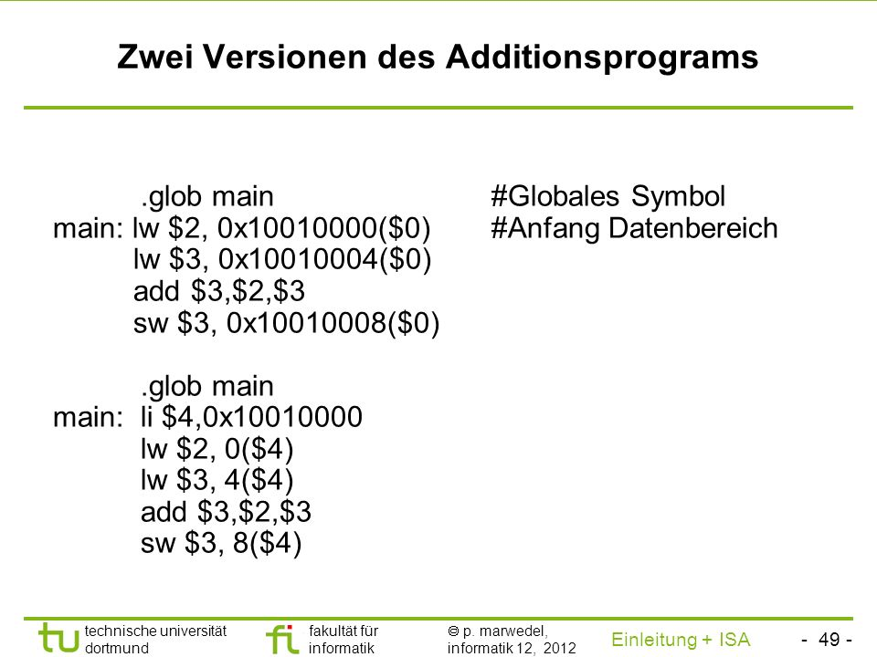 Zwei Versionen des Additionsprograms
