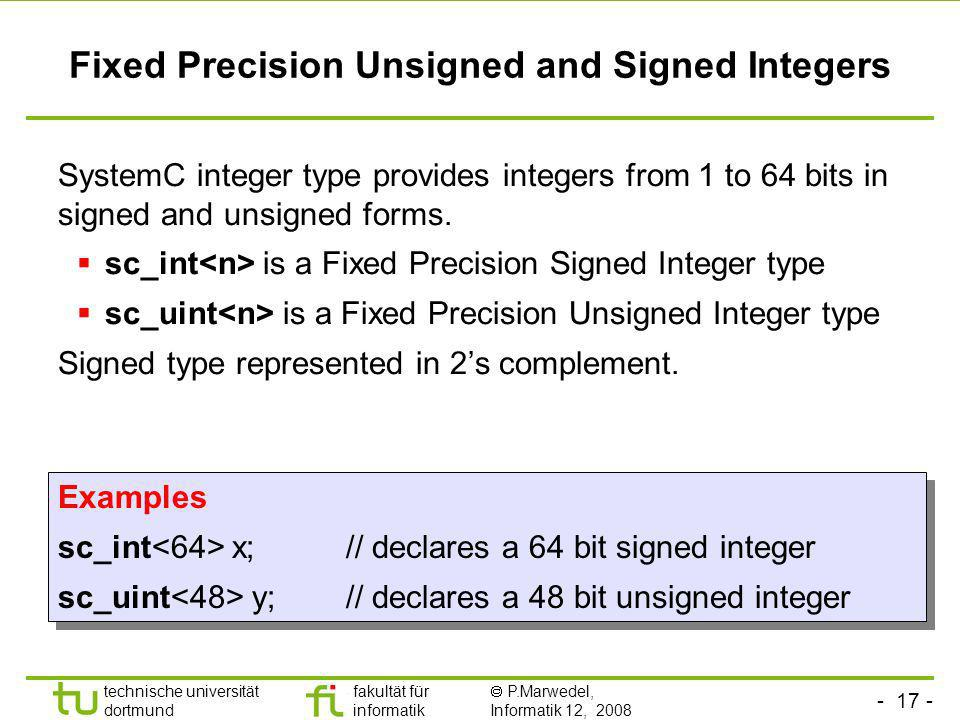 Fixed Precision Unsigned and Signed Integers