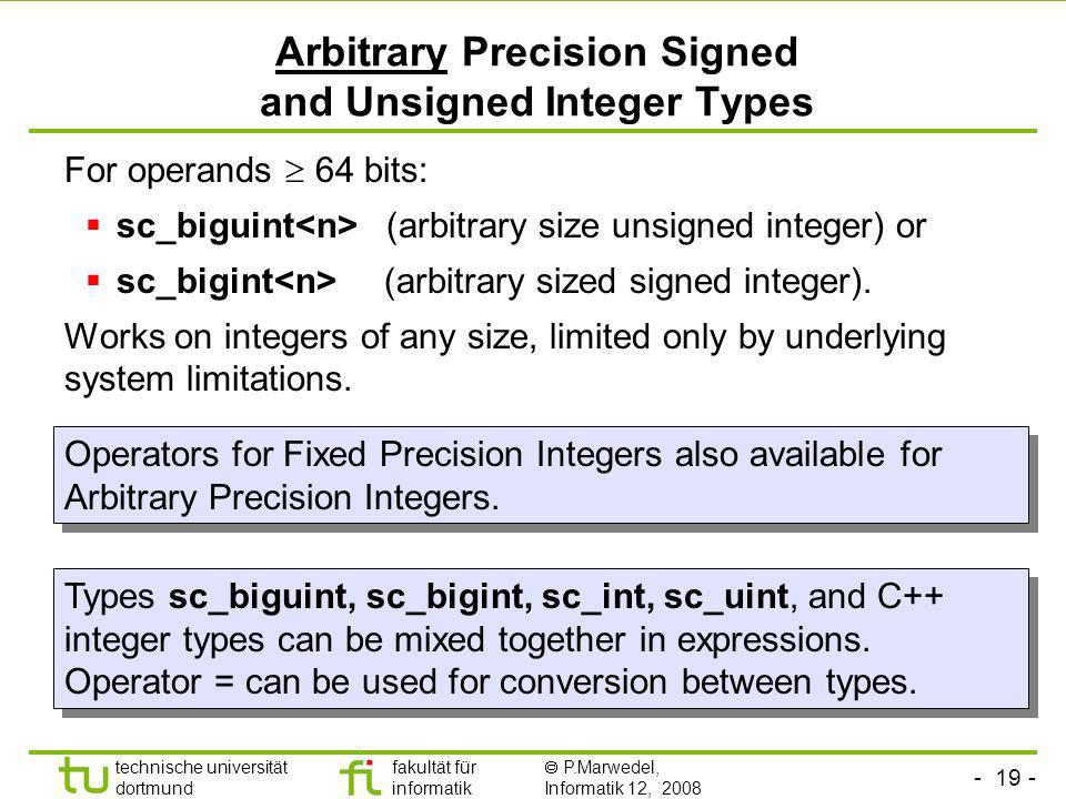 Arbitrary Precision Signed and Unsigned Integer Types