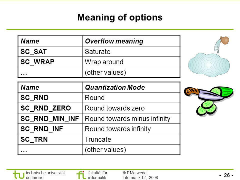 Meaning of options Name Overflow meaning SC_SAT Saturate SC_WRAP