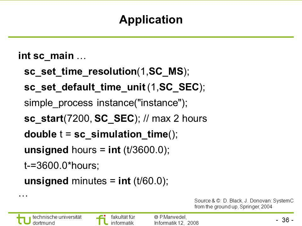 Application int sc_main … sc_set_time_resolution(1,SC_MS);