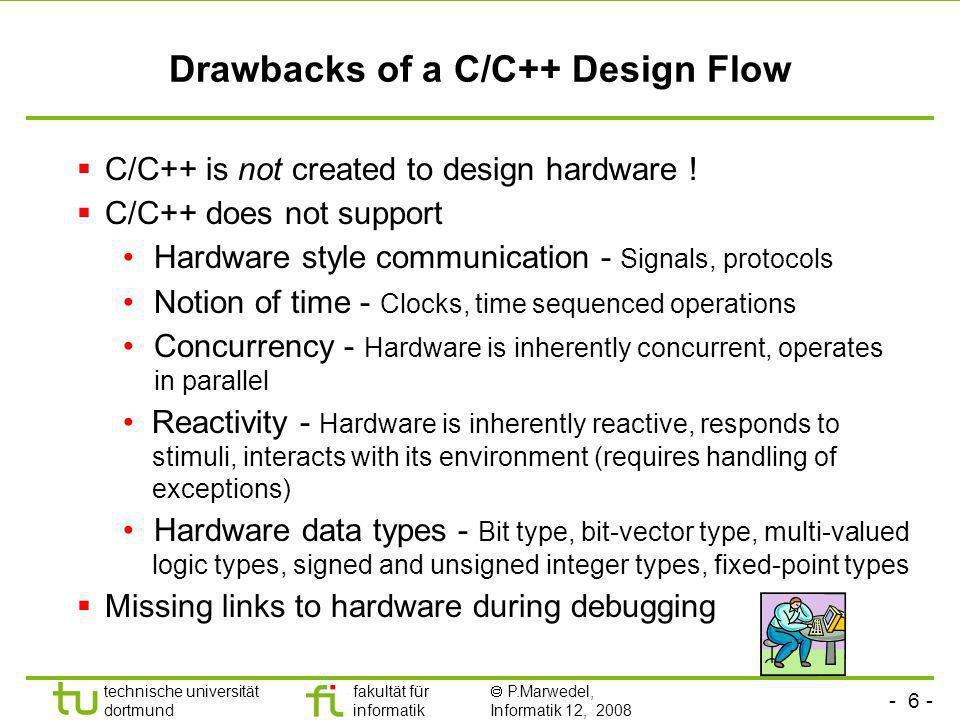 Drawbacks of a C/C++ Design Flow