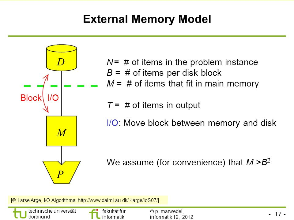 External Memory Model D M P N = # of items in the problem instance