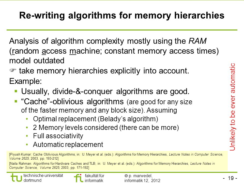 Re-writing algorithms for memory hierarchies