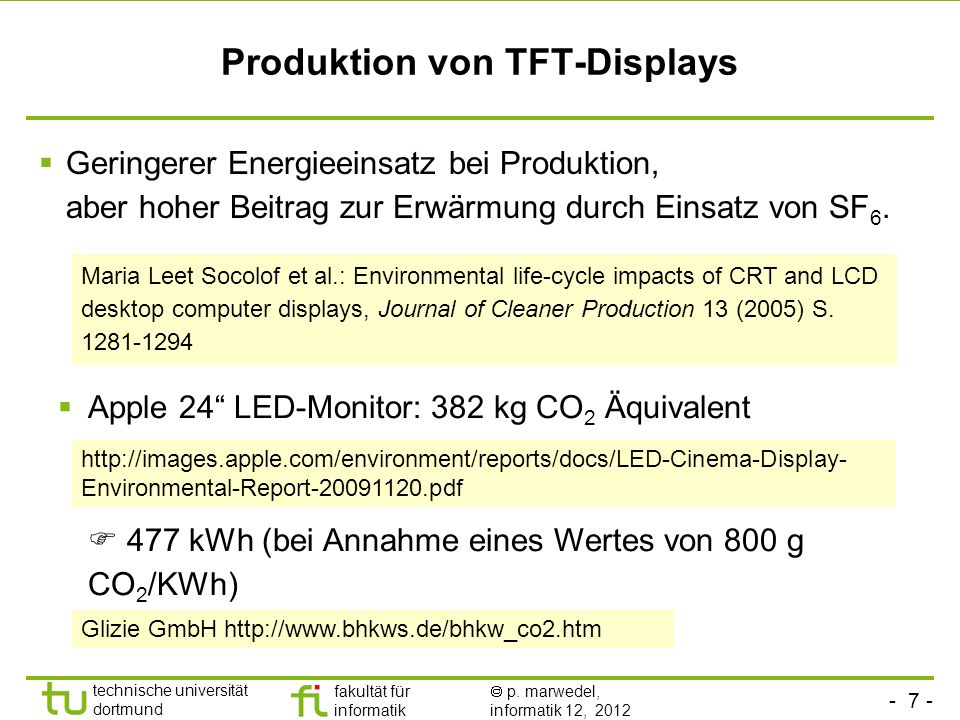 Produktion von TFT-Displays
