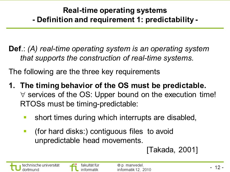 Real-time operating systems - Definition and requirement 1: predictability -