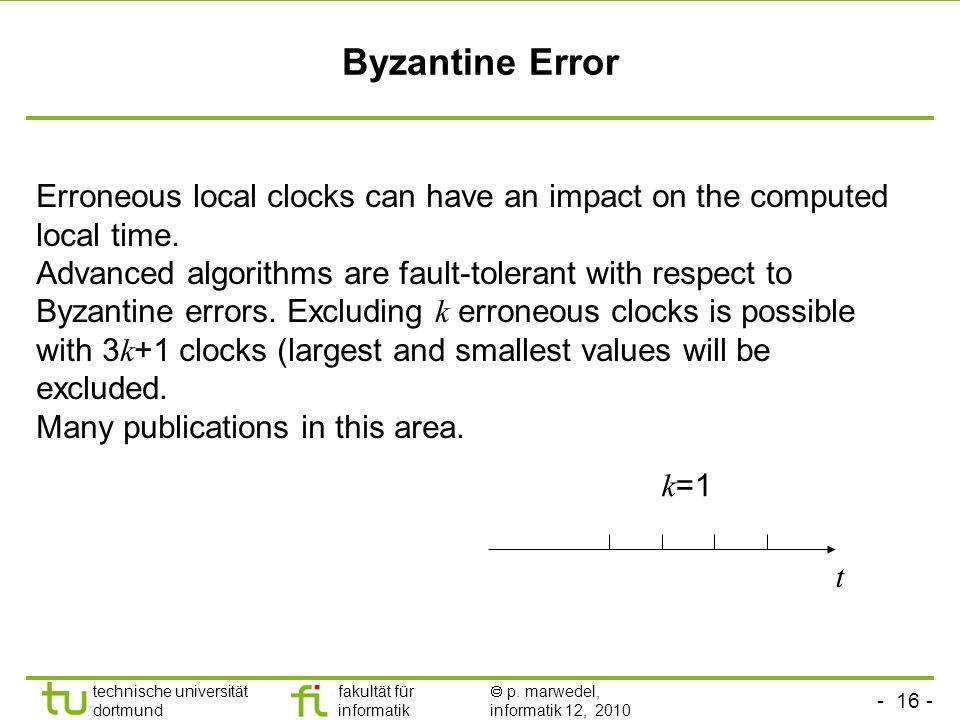 Byzantine Error Erroneous local clocks can have an impact on the computed local time.