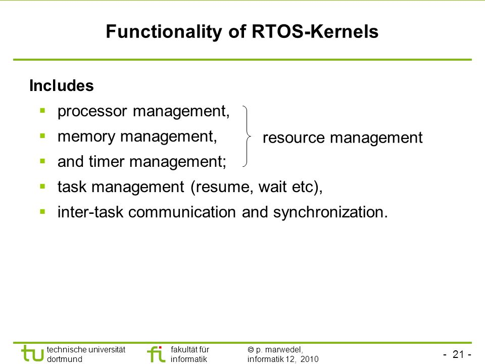 Functionality of RTOS-Kernels