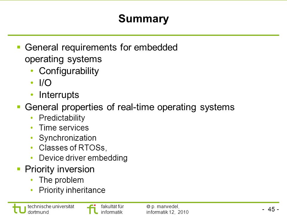 Summary General requirements for embedded operating systems