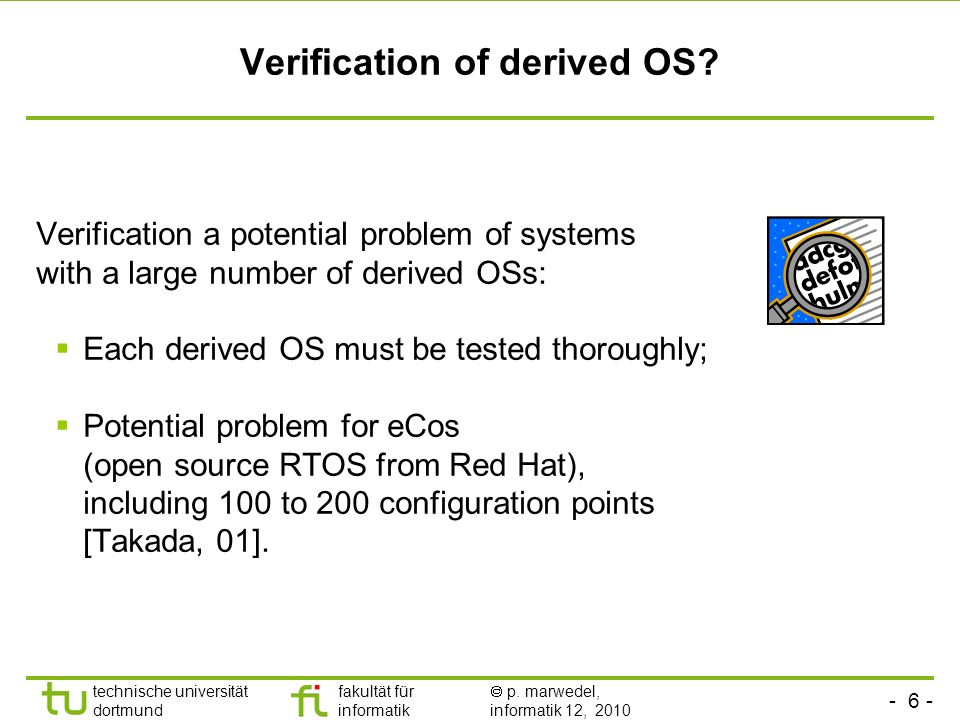 Verification of derived OS