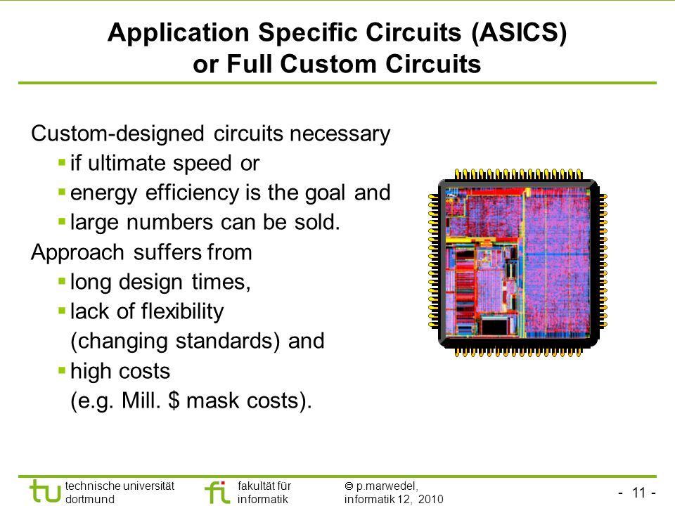 Application Specific Circuits (ASICS) or Full Custom Circuits