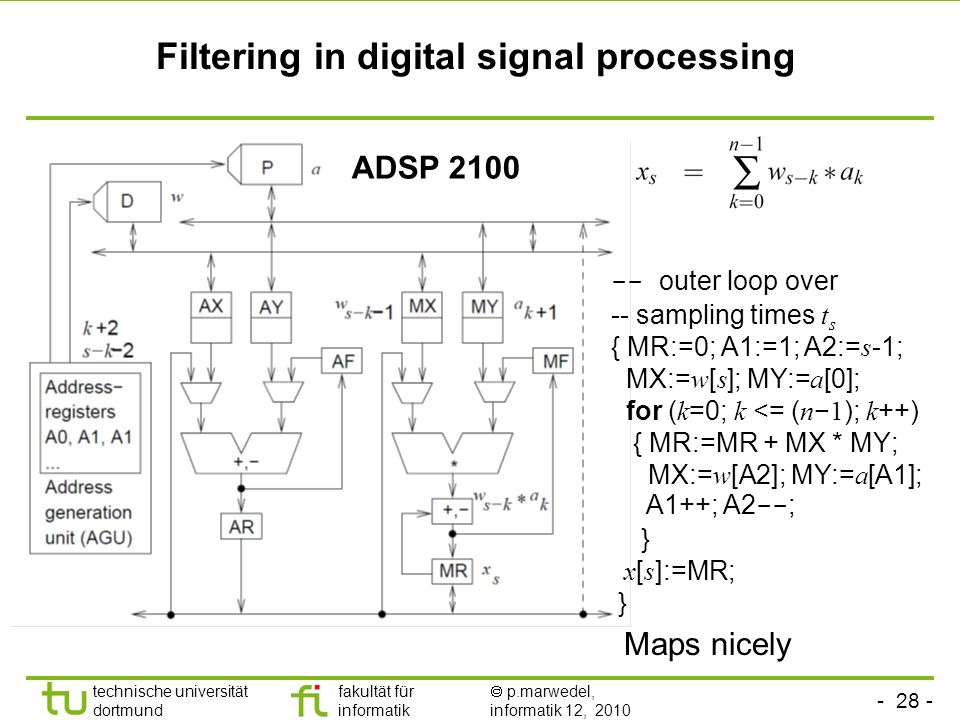 Filtering in digital signal processing