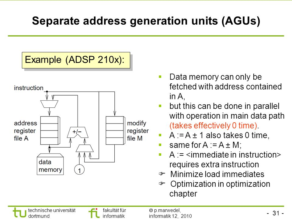 Separate address generation units (AGUs)