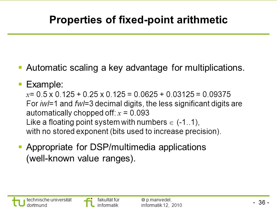 Properties of fixed-point arithmetic