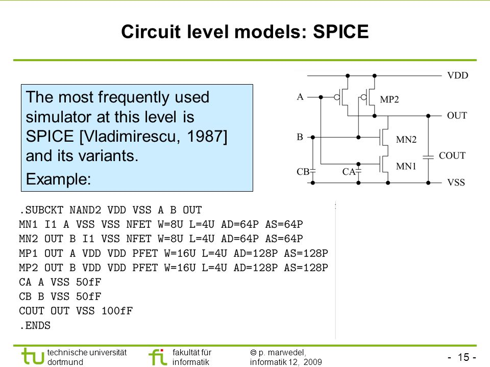Circuit level models: SPICE