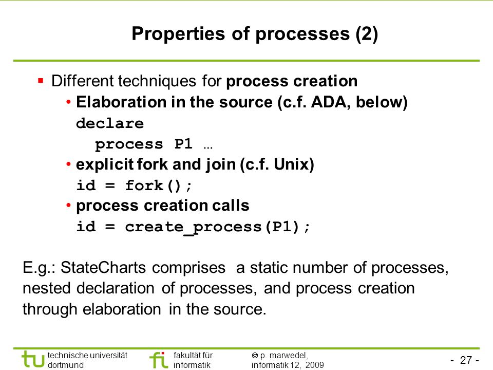 Properties of processes (2)