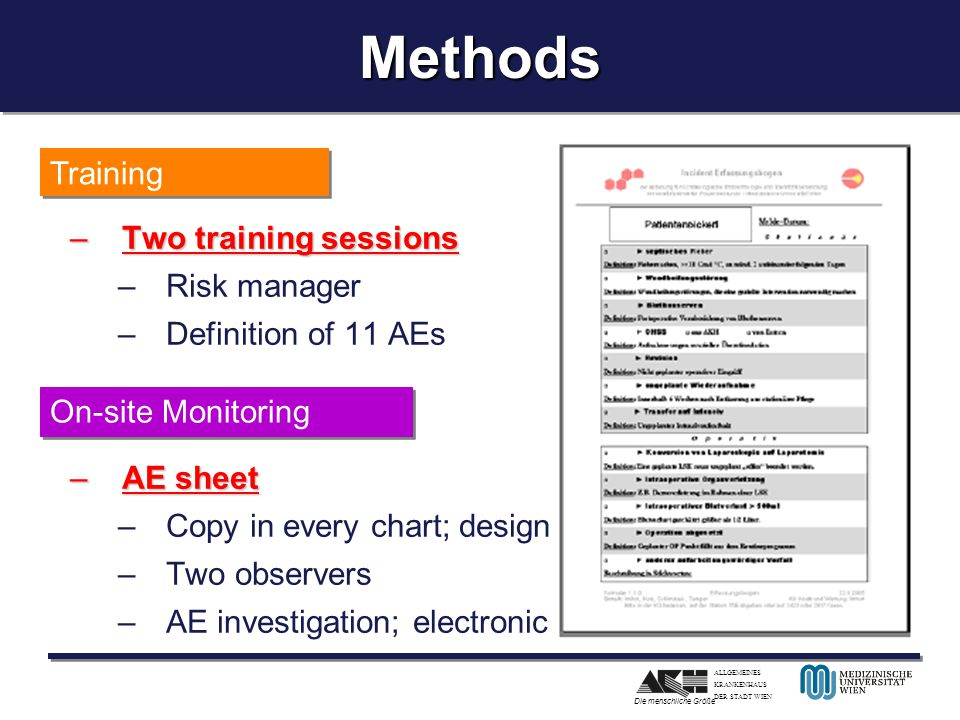 Methods Training Two training sessions Risk manager