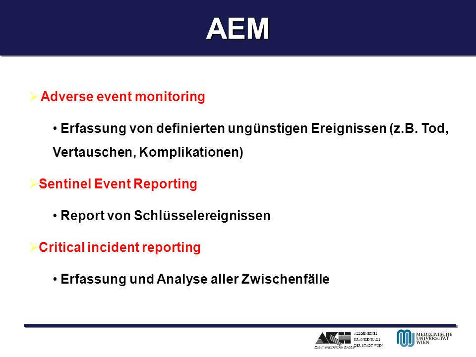 AEM Adverse event monitoring