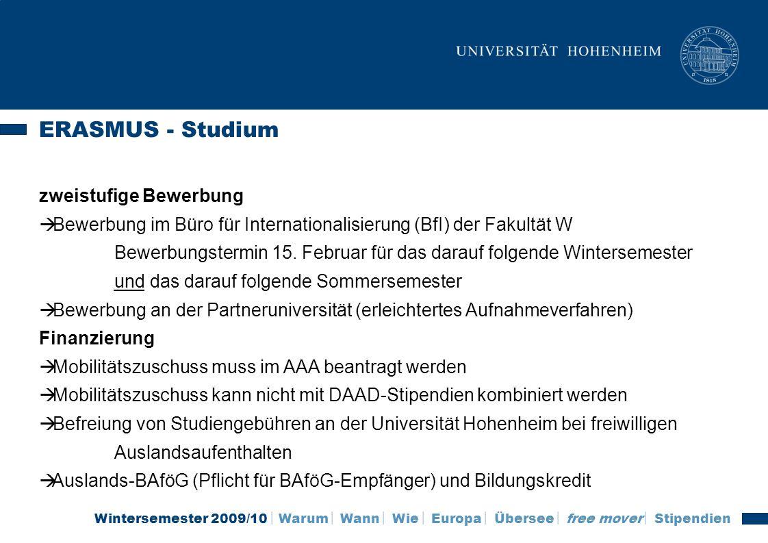 ERASMUS - Studium zweistufige Bewerbung