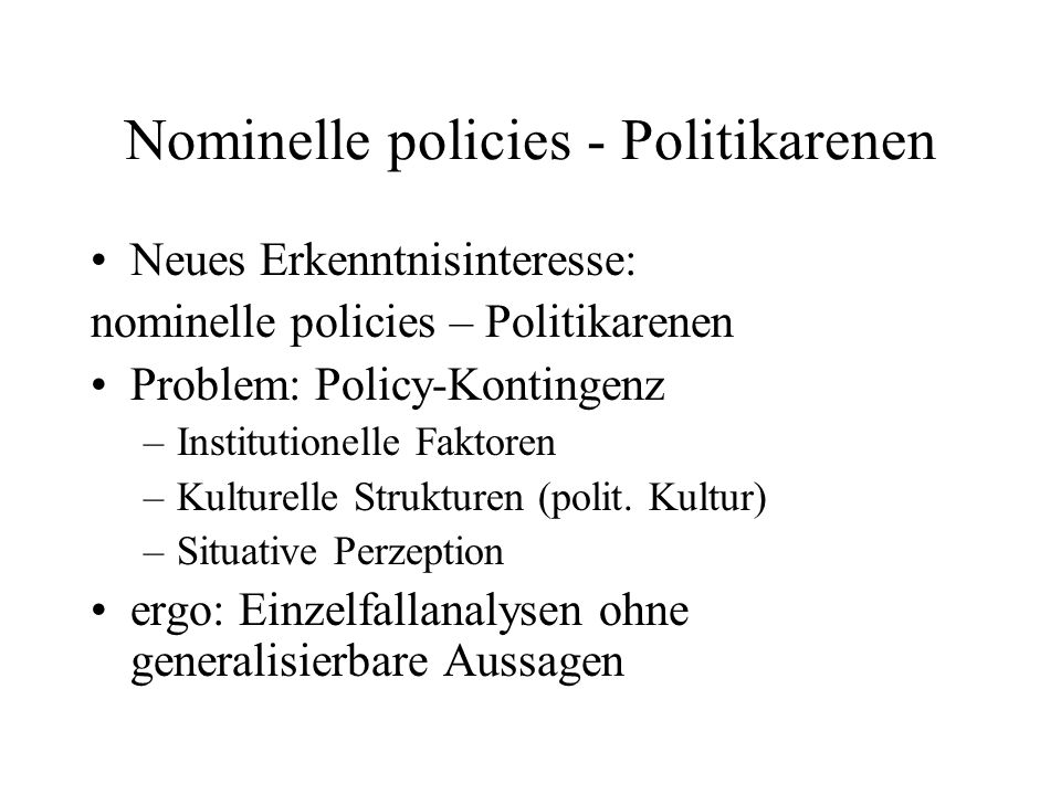 Nominelle policies - Politikarenen