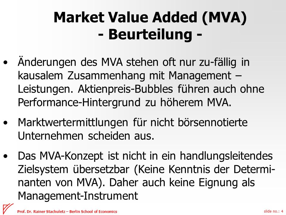 Market Value Added (MVA) - Beurteilung -
