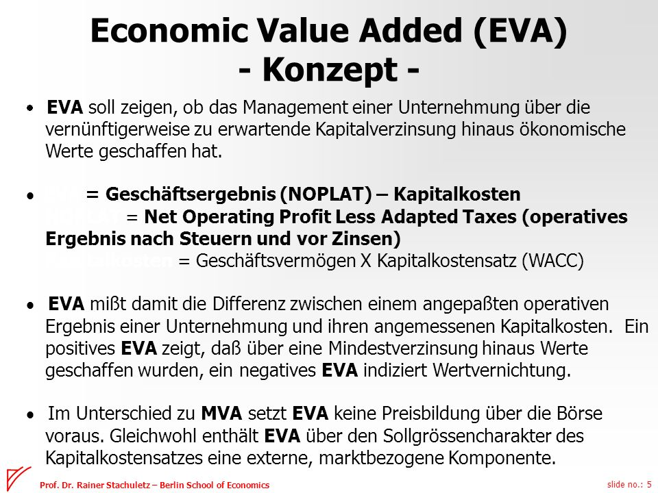 Economic Value Added (EVA) - Konzept -