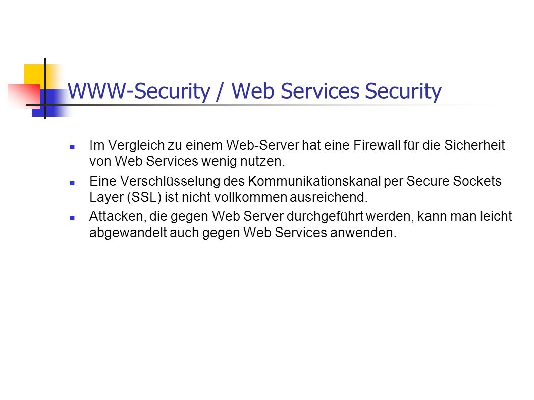 WWW-Security / Web Services Security