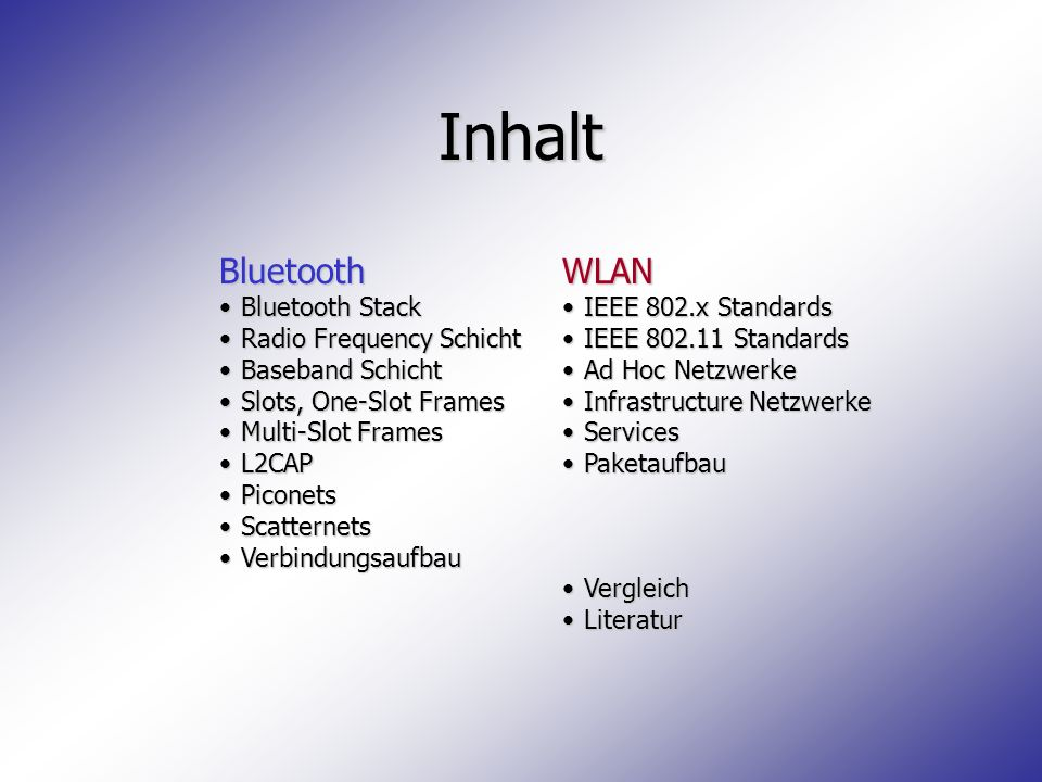 Inhalt Bluetooth WLAN Bluetooth Stack Radio Frequency Schicht