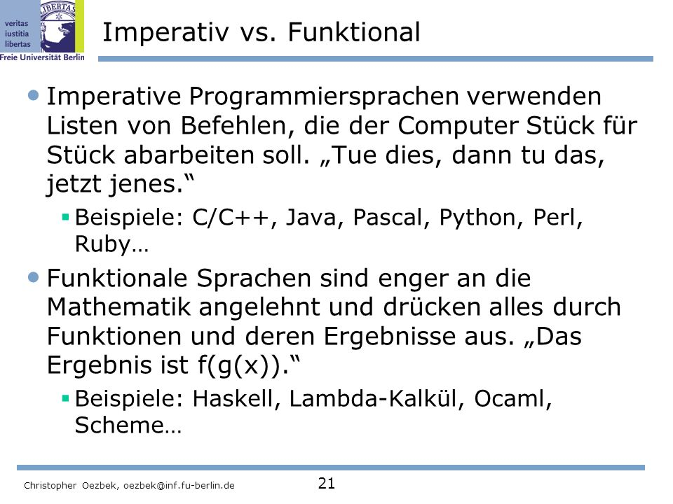 Imperativ vs. Funktional