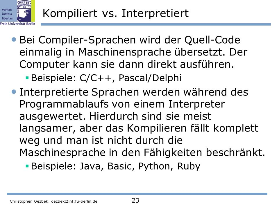 Kompiliert vs. Interpretiert
