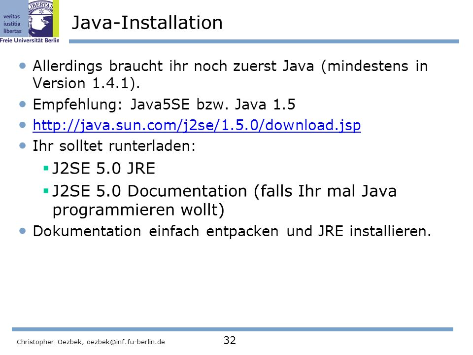 Java-Installation J2SE 5.0 JRE
