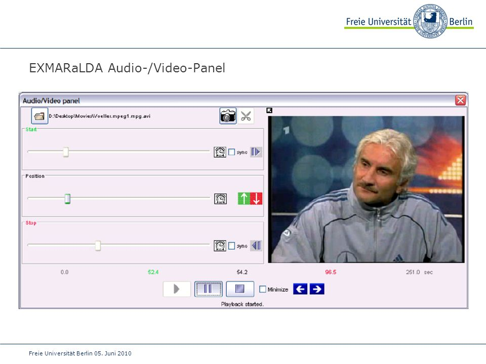 EXMARaLDA Audio-/Video-Panel
