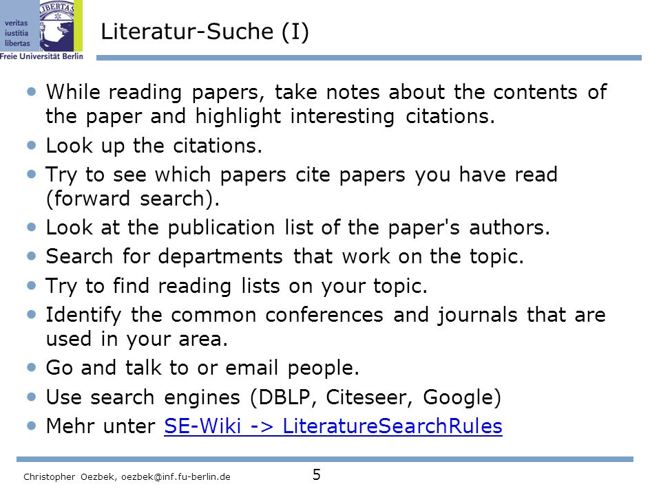 Literatur-Suche (I) While reading papers, take notes about the contents of the paper and highlight interesting citations.