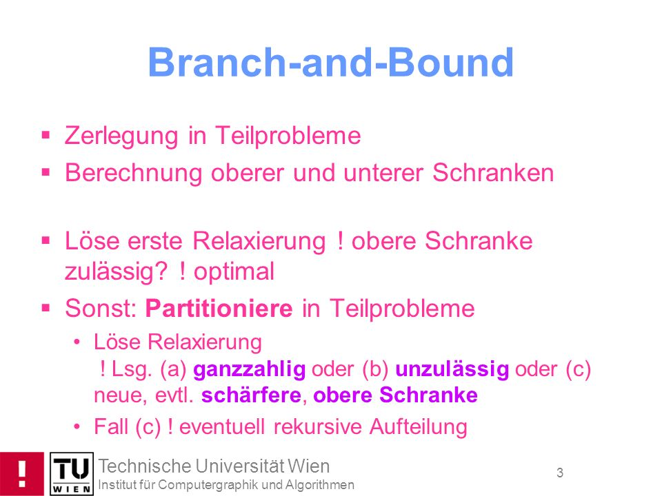 Branch-and-Bound Zerlegung in Teilprobleme
