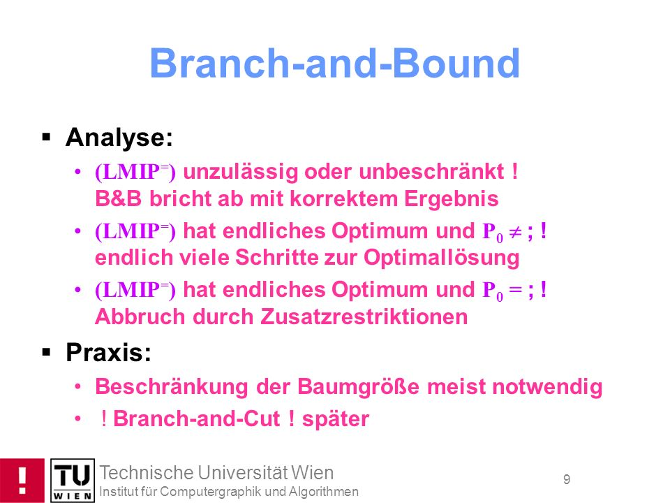 Branch-and-Bound Analyse: Praxis: