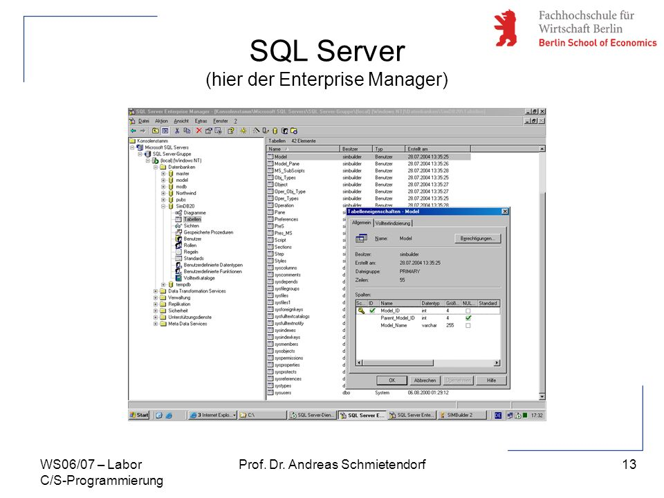 SQL Server (hier der Enterprise Manager)