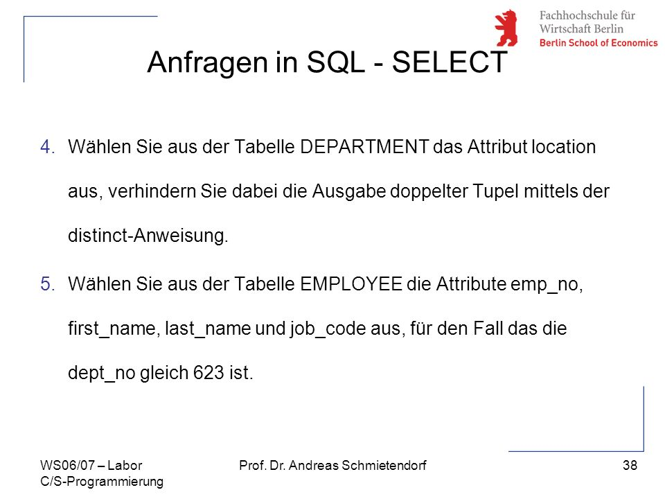 Anfragen in SQL - SELECT